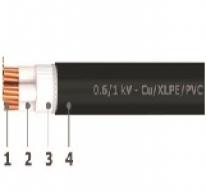 0.6/1 kV unarmoured 4 cores cables - Cu/XLPE/PVC