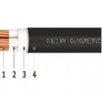 0.6/1 kV unarmoured 3 cores cables - Cu/XLPE/PVC